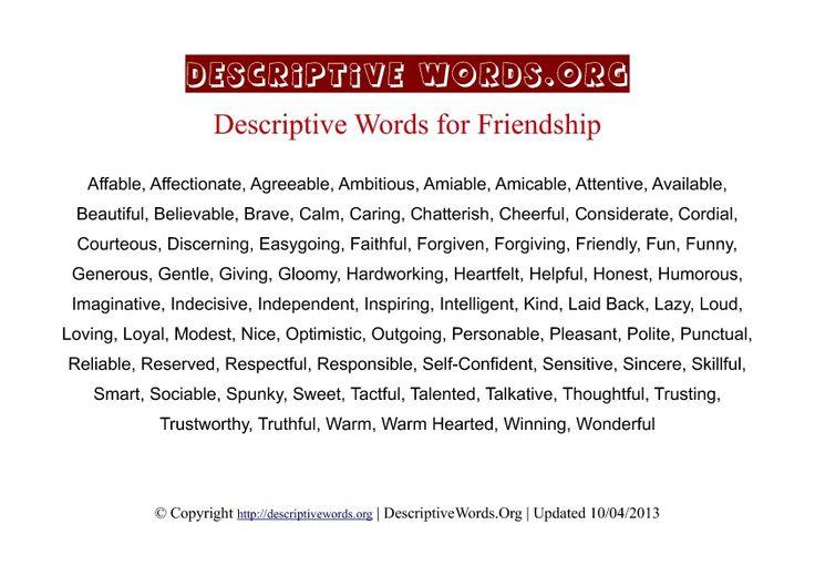 Describe your friendship in words Friendship Descriptive Words - descriptive words for resume
