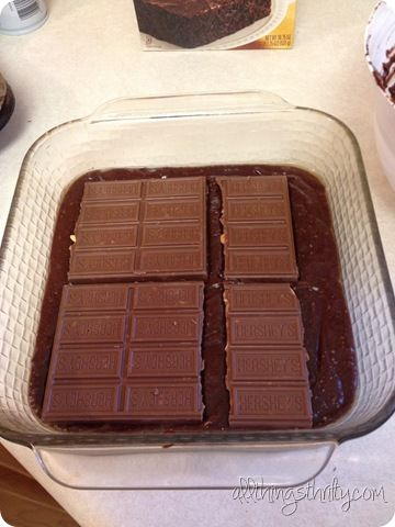 Best Brownies Ever {with a secret ingredient} can also use kit kats or prob. all kinds. That's one thing about the Americans....everything's already ½ made or in a box Makes you wonder if anybody has actually baked something with real ingredients.....