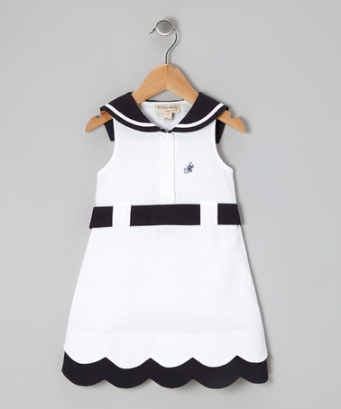 Take a look at this White & Navy Blue Sailor Dress - Infant & Toddler by P'tite Môm on #zulily today!