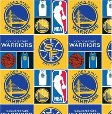 """New! Golden State Warriors Basketball NBA ~ 100% Cotton Fabric  BTY 44"""" wide"""