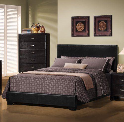 monarch specialties i 5908q black leatherlook queen size bed monarch specialties http - Black Queen Bed