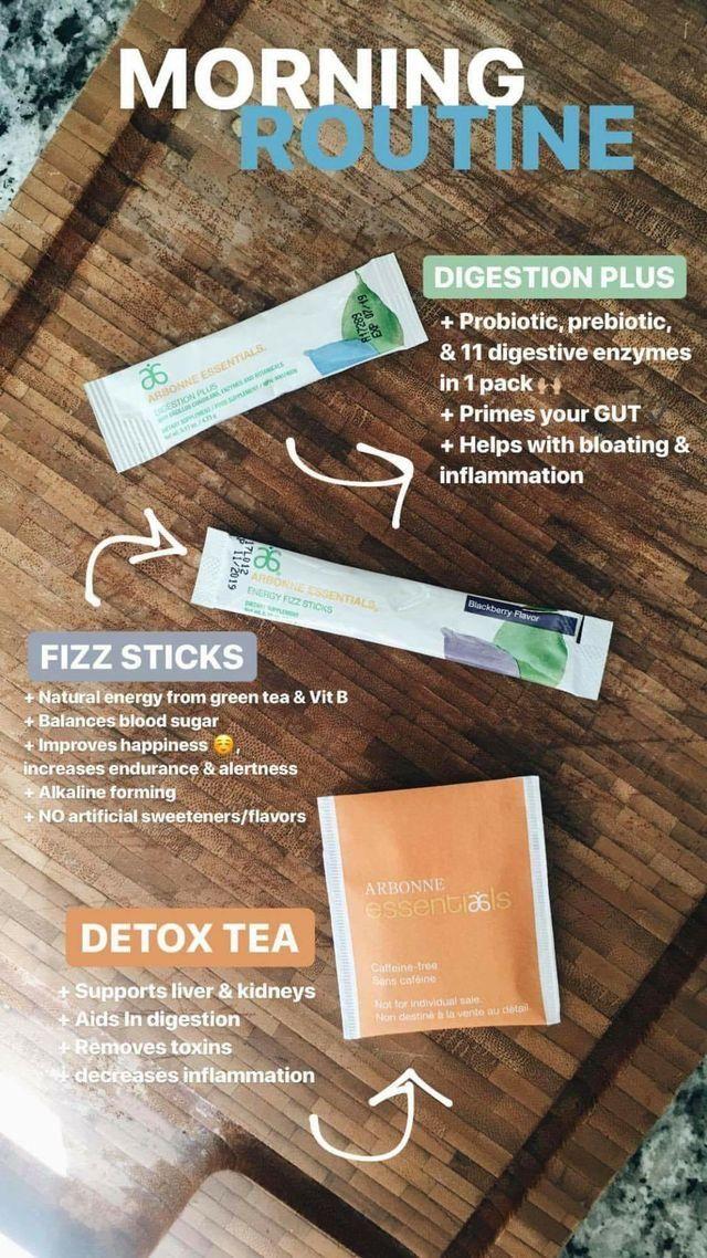 Arbonne Morning Routine Digestion Plus. Fizz Stick.  Detox Tea. Order online: lisajennings2.arbonne.com