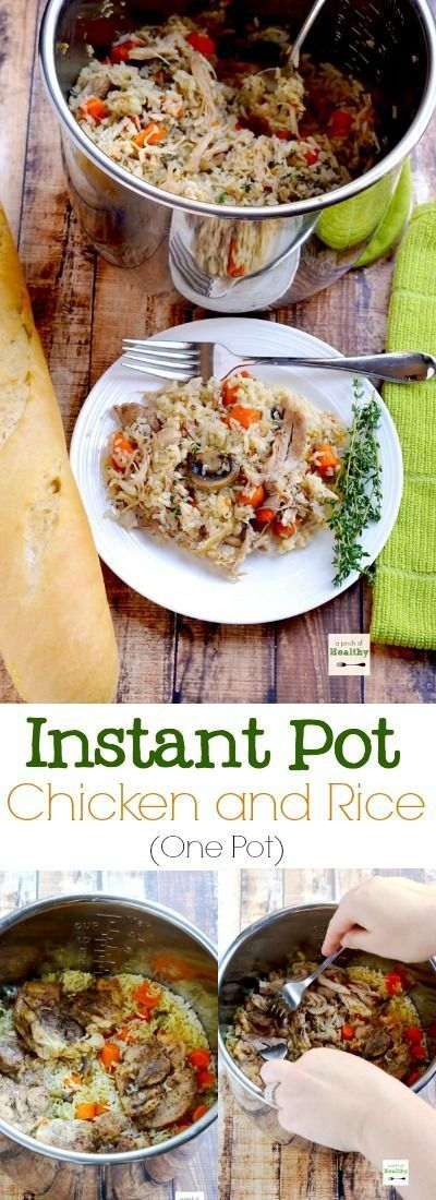 Instant Pot chicken and rice is a delicious and simple supper that you can make all in one pot. | http://APinchOfHealthy.com
