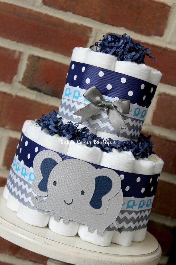2 Tier Gray and Navy Blue Elephant Diaper Cake, Elephant Baby Shower, Boy, Centerpiece, Grey, Navy, Blue, Chevron, Polka Dot, Decor