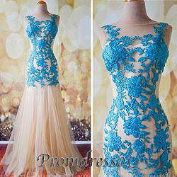 #promdress01 prom dresses - Elegant A-line blue lace white tulle mermaid long prom cute dress, ball gown, wedding dress #promdress #coniefox #2016prom