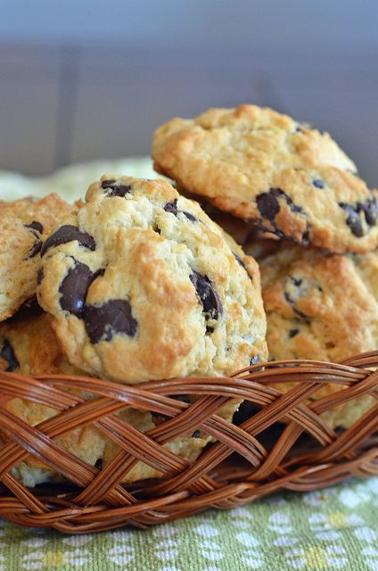 Chocolate Chip Scones. Made with flour, sugar, brown sugar, baking powder, salt, butter, chocolate chips, and heavy whipping cream.