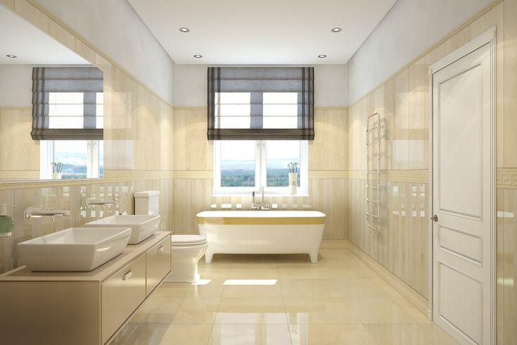 mural pas jusqu'en haut pas top salle de bain travertin en beige pastel et vasques à poser en blanc