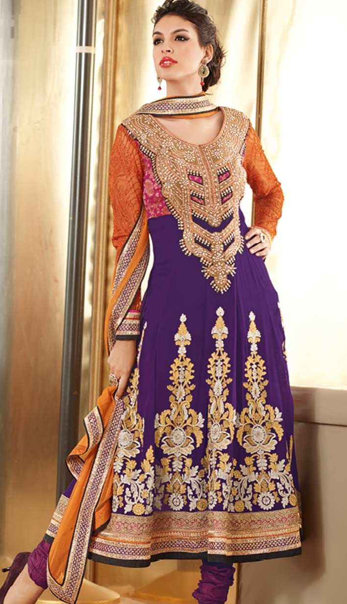 Latest Beautiful Traditional Purple Georgette #PakistaniSalwarKameez Online with  Great Collection.  #Price INR-  7176 Link- http://alturl.com/o8z89