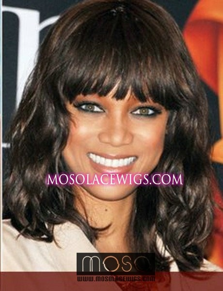 Hot Celebrity hairstyle Tyra Banks body wave hair wigs 14''human hair Full lace wigs #1b - www.mosolacewigs.com  Hot Celebrity hairstyle Tyra Banks body wave hair wigs 14''human hair Full lace wigs #1b