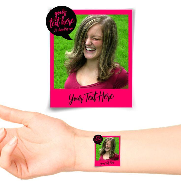 Pink Polaroid Photo Personalised Tattoo #1179 (20 pack)