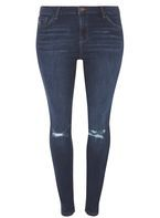 Womens DP Curve Plus Size Indigo Skinny Ripped Jeans- Blue