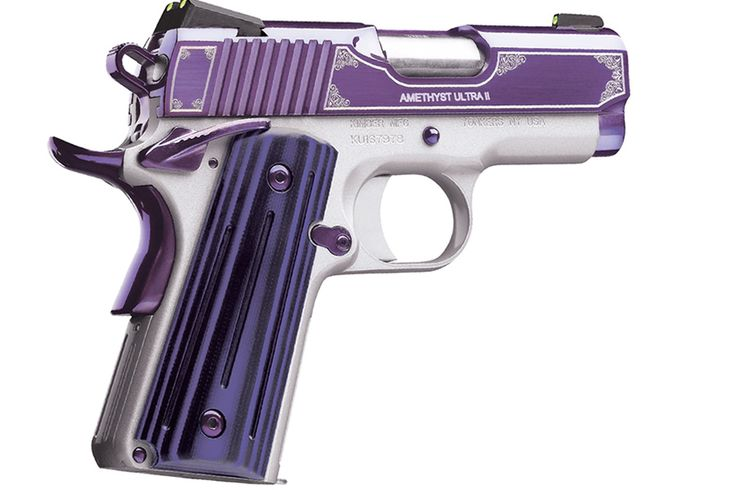 "New Beauty from Kimber!  Modeled on the successful Kimber Sapphire Ultra, the new Kimber ""Amethyst"" Ultra 9mm is a one-of-a-kind addition to the Kimber line of firearms.#purple #kimber #girlygun"