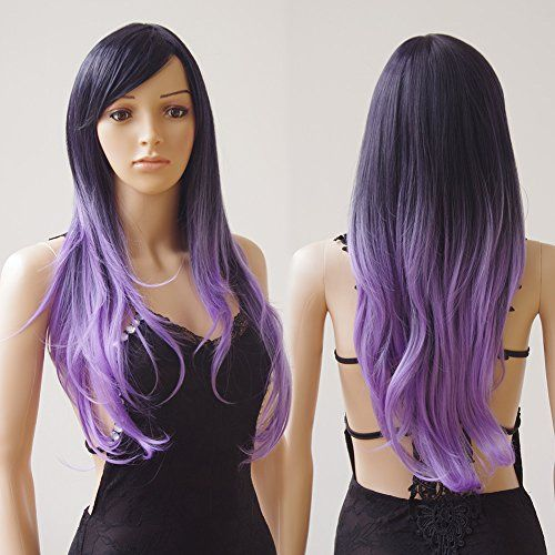 28  70cm Heat Resistant Synthetic Wig 2 Tone Ombre Color Japanese Kanekalon Fiber Full Wig with Bangs Long Curly Wavy Full Head for Women Girls Lady Fashion and BeautyBlack Purple Mix -- You can find more details by visiting the image link.Note:It is affiliate link to Amazon.