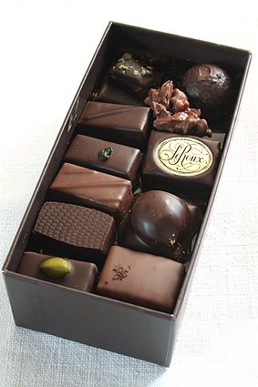 Chocolates from Henri Le Roux, Paris France, make homemade boxes of chocolates as gifts