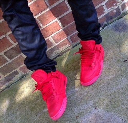 All red Air Jordan 4's. #sneakers