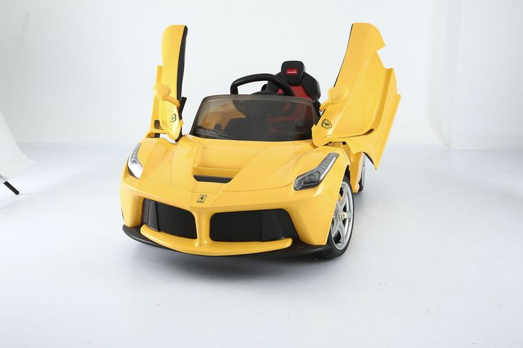 Licensed Ferrari LA 12V with butterfly doors,original car paint job,remote control access, mp3 player & Aux connections, rear suspension & many more cool features. CAD $999.99 plus shipping (order at Toys and Stuff)