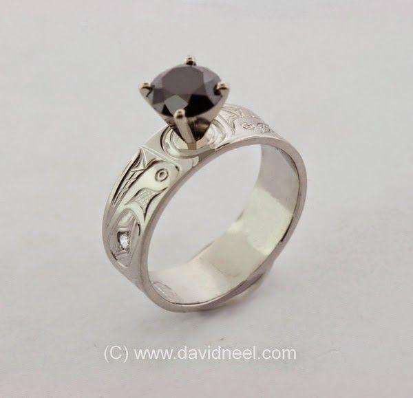 Wolf Ring, platinum with 1 carat black diamond.    #native #indigenous #aboriginal #nativeamerican