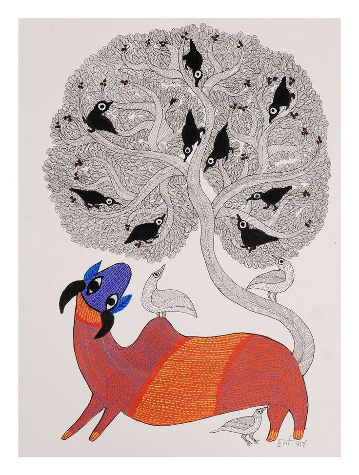 Buy Multi Color Tree Deer Gondh Painting By Durgabai 15in x 11in Paper Acrylic Permanent Ink Art Decorative Folk of Good Fortune Tribal Gond from Madhya Pradesh Online at Jaypore.com