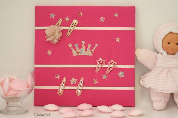 Cadres pour barrettes 'couronne de princesse' # rangement mural http://ateliernatblog.canalblog.com