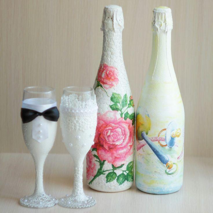 Свадебное Украшение для Молодых!!!Принимаю Заказы!Шампанское и бокалы в Вашем Цвете!)