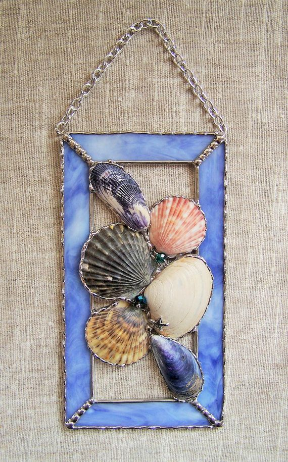 Stained Glass Seashell Window Panel by PineTreeGlassWorks on Etsy, $45.00                                                                                                                                                                                 More