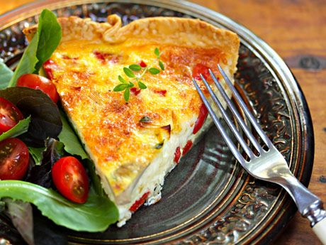 Leek and mushroom quiche, from The Perfect Pantry.: Leek And Mushrooms Quiche Slic, Mushroom Quiche, Seemed Quiches, Quiches Recipes, Mushrooms Quiches, Basic Quiches, Quiche Recipes, Vegetarian Dinners, Breakfast Brunch