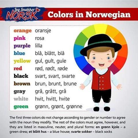 Colors and in Norwegian ✔ What's your favorite color in Norwegian? #jegsnakkernorsk #norsk #norge #norwegian #norway #noruegues #bokmål #polyglot #poliglota #sueco #swedish #sweden #svenska #dansk #danish #denmark #norvege #france #language #frances #russia #germany #spain #world