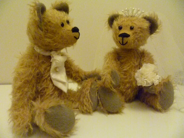 The Bride and Groom! These bears are perfect as a wedding gift, and can be customisable to the colours and even fabrics used at the actual bride and groom's wedding!