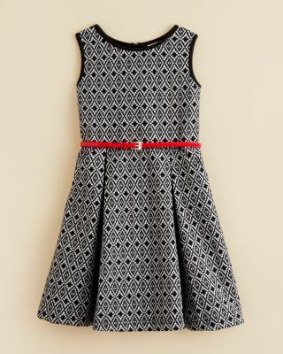 US Angels Girls' Belted Print Dress - Sizes 4-6X | Bloomingdale's