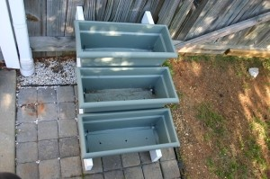 tiered planter using stair risers and plastic window box planters