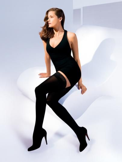 The Look and Feel of Designer Fashion Tights  Luxurious tights with lasting microfiber softness.  Advanced moisture management keeps legs cool and dry.  Comfortable wide top band prevents knee-highs from rolling down.
