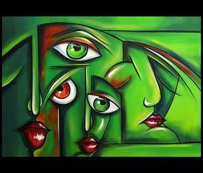 acryl schilderijen   Abstracte Groene Gezichten