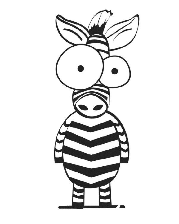 Cartoon coloring pages: Crazy-eyed Zebra