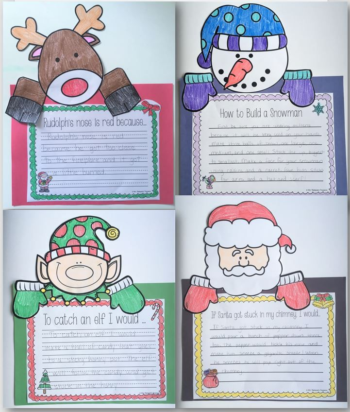 Fun Christmas writing activities - Rudolph, snowman, elf, and Santa templates plus prompts!