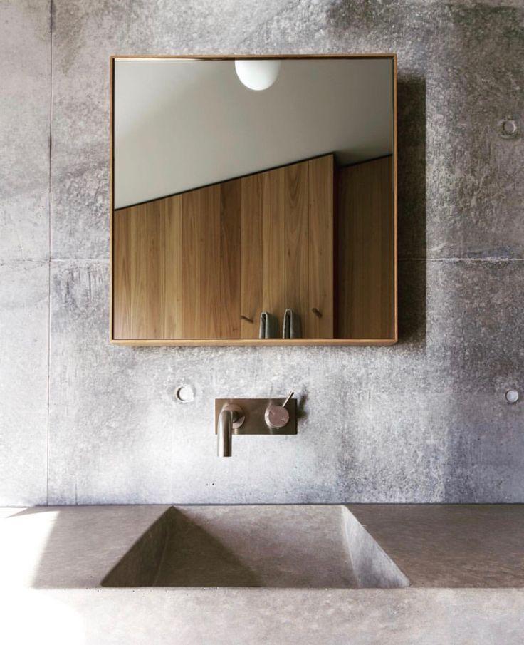 Minimal simple concrete bathroom design