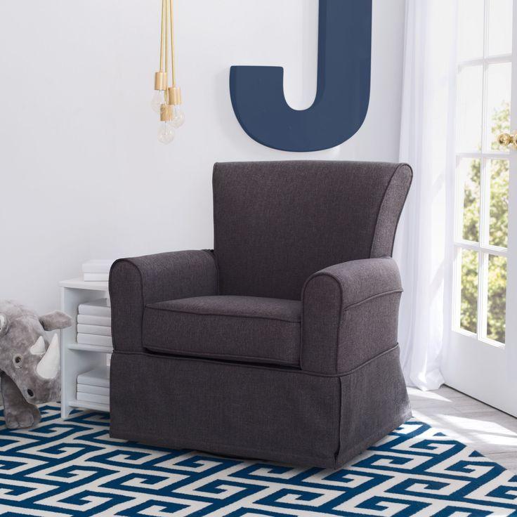 Delta Children Epic Nursery Glider Swivel Rocker Chair, Charcoal (Charcoal), Grey