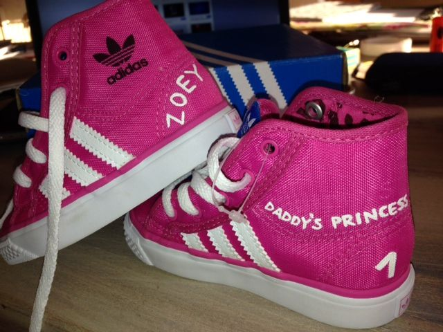 Pink Adidas Customized kiddies sneakers with name and daddy's princess for a first birthday