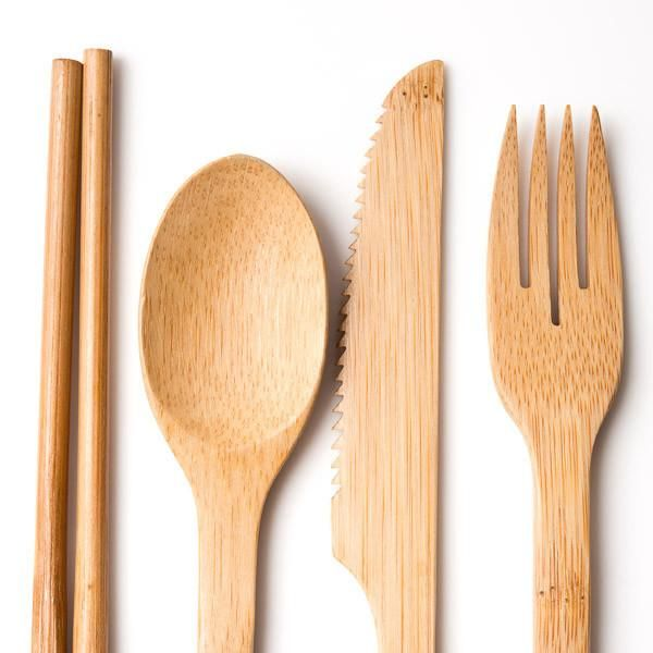 This bamboo cutlery set by Yellow 108 is an eco-friendly alternative to traditional disposable dinnerware. Yellow 108 specializes in sustainable hats and access