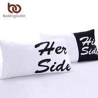 Beddingoutlet cama funda de almohada suave almohada cubierta su regalo para él o ella a su lado negro rojo teal 2 unids ropa de cama