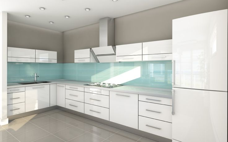 Contemporary Kitchen - High Gloss Acrylic White Cabinets with Quartz Counter Top and Green Glass Full Back Splash