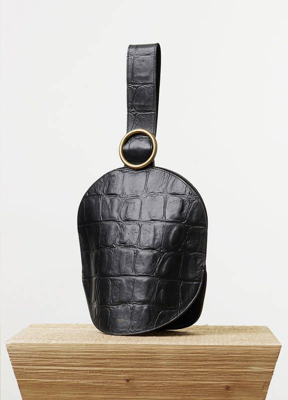 CELINE -- SS15 Curved Clutch in Black Stamped Crocodile Calfskin ...