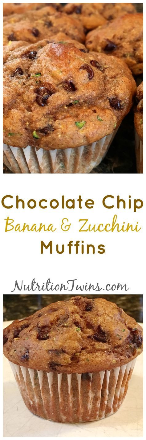 Chocolate Chip Banana Zucchini Muffins   Only 155 Calories   Moist & delicious   Hard to believe No added sugar other than the chocolate chips!  For MORE RECIPES, fitness & nutrition tips please SIGN UP for our FREE NEWSLETTER www.NutritionTwins.com
