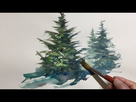 Eng Sub Watercolor Tree Painting Easy Tutorial 3 Coniferous