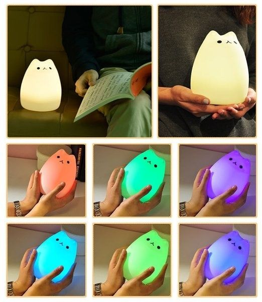 A color-changing kitty night light you turn on with a pat. | Here's What People Are Buying On Amazon Right Now