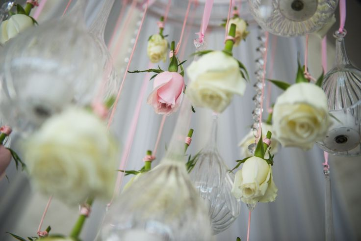 flower and tea light chandelier feature Wedding detail Stradbroke Island Photography