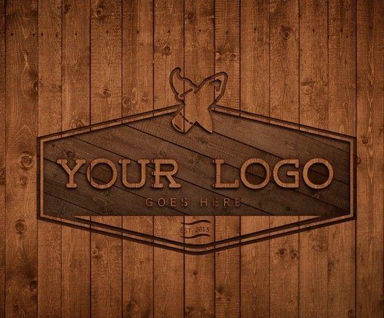 3D Wood Logo Design PSD