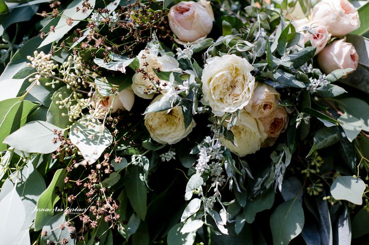 DY.o events (aka Duo)  Rose with eucalyptus bridal bouquet. Pink, whites and green wedding.