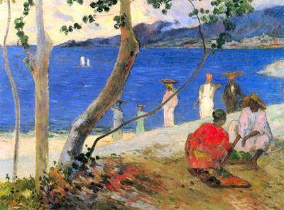 Beach Scene by Gauguin. Order from DEKORAMI as a poster, canvas print, mural. Zamów jako obraz na płótnie, plakat lub fototapetę na DEKORAMI.pl