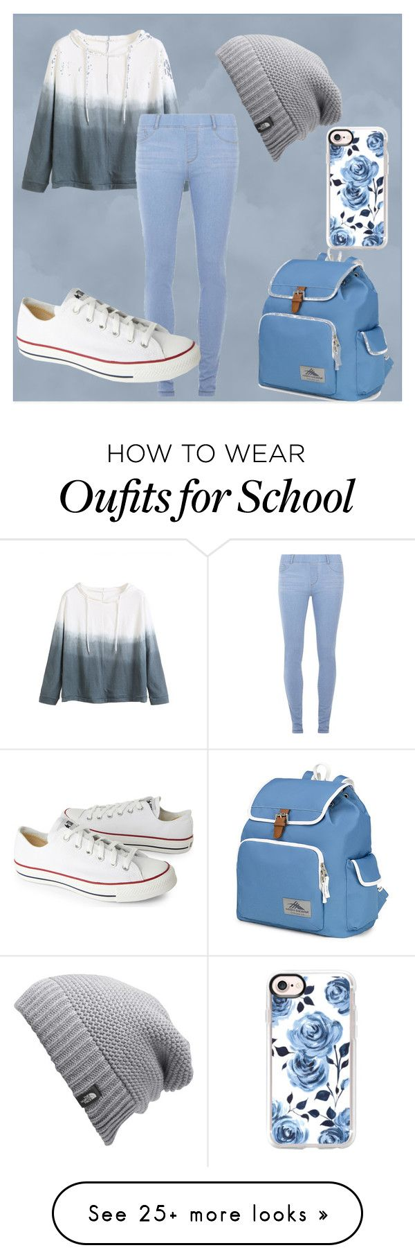 """Causally Blue"" by emokitty350 on Polyvore featuring WithChic, Dorothy Perkins, Converse, High Sierra, Casetify and The North Face"