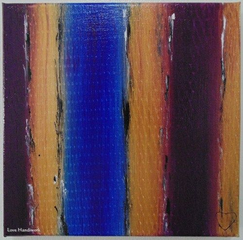 "Love 19 - PURPLE GOLD & BLUE Abstract 8""x8"" Square Painting"